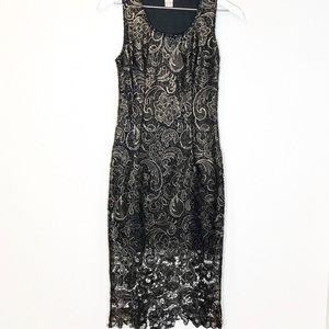 Anthropologie Worn 1x Lace Black & Gold Midi Dress
